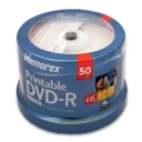 DVD-R Memorex 4.7 GB 16x spindle pack 50 Printable-white surface